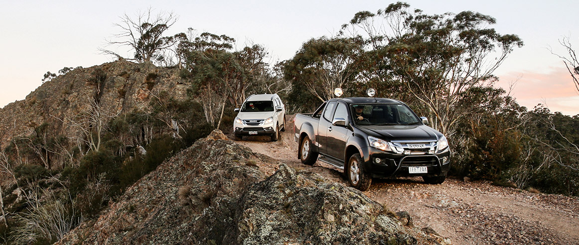 D-MAX and MU-X drive along the ridge of a mountain top